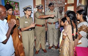 TIMELY HELP: Letika Saran, DGP, at the residence of constable Nagarathinam in Sivakasi on Tuesday. Photo: Special Arrangement | The Hindu