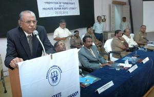 AWARENESS: State Human Rights Commission chairman Justice A.S.Venkatachalamurthy addressing a training programme in Madurai.