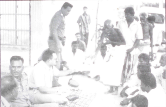 Police hearing the grievances of villagers at a camp organised at vallanadu by Tuticorin rural police