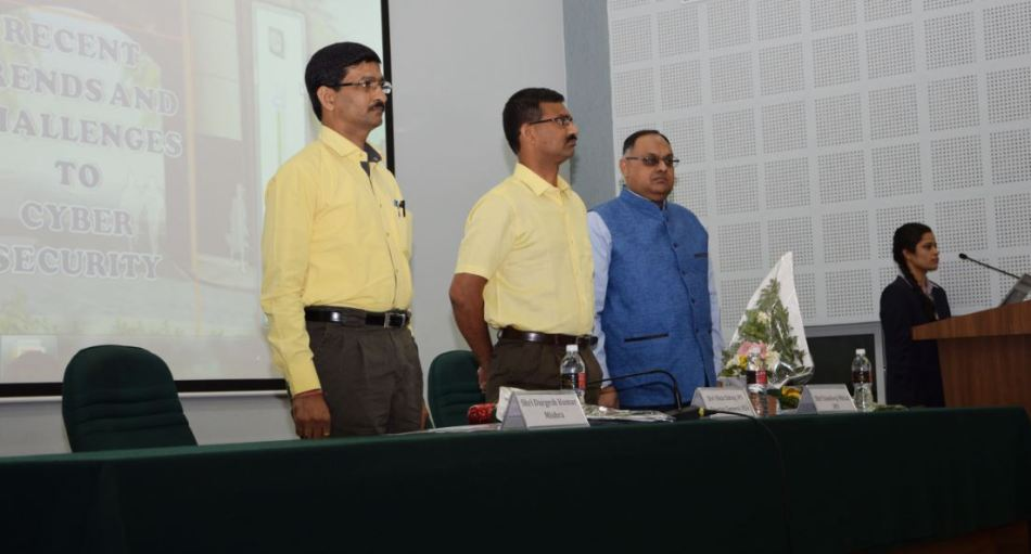 """Shri Sandeep Mittal, IPS, Deputy Inspector General of Police delivered lecture and participated in the Seminar on """"Recent Trends and Challenges to Cyber Security""""  organised by Raksha Shakti University held on 26th April, 2016 at Ahmedabad ."""