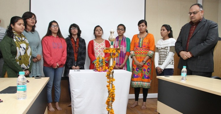Saraswati Vandana by students of NICFS in presence of Sh. Sandeep Mittal, IPS, Director, NICFS